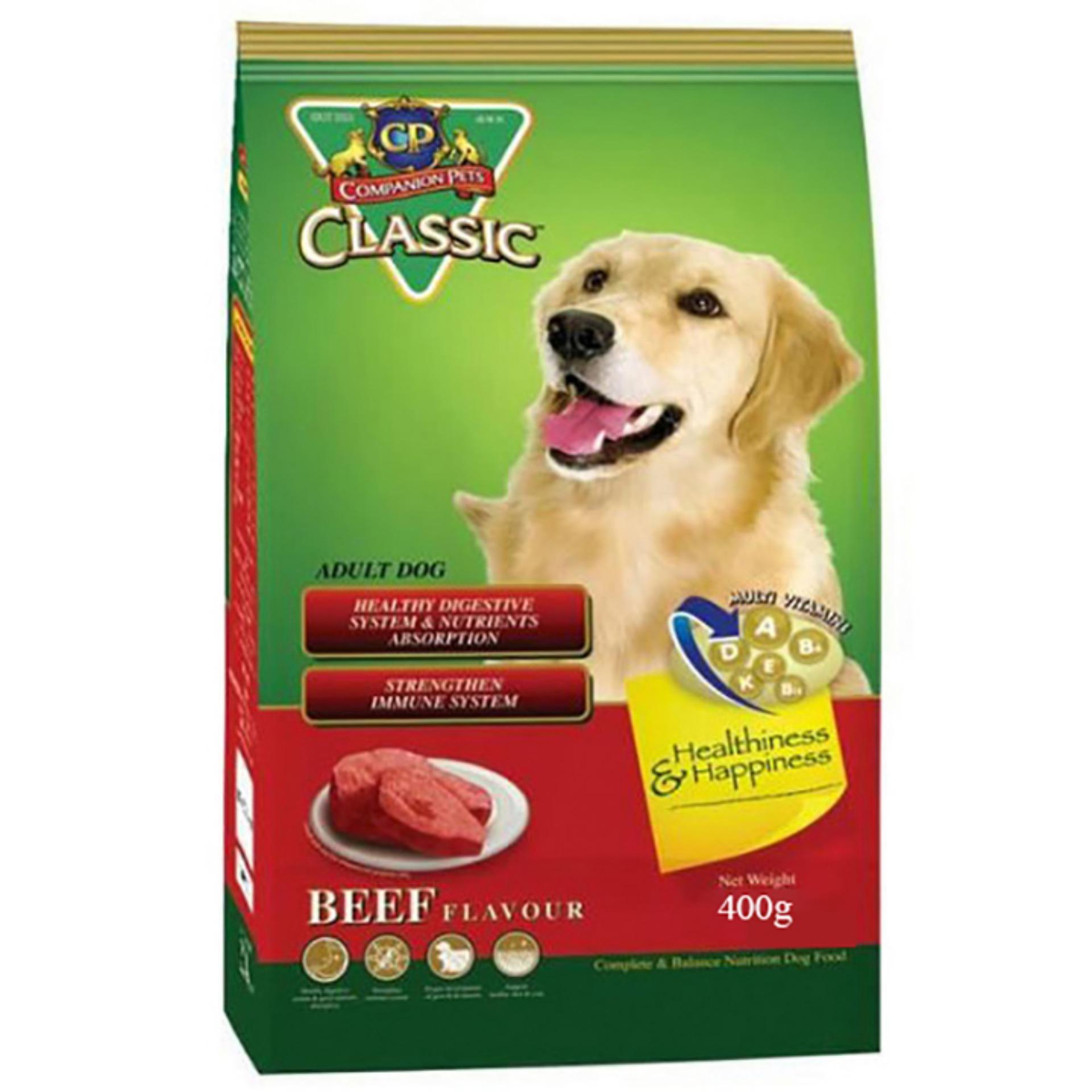 Thức ăn vị thịt bò nướng cho chó – Thức ăn cho chó lớn – Thức ăn cho chó CP Classic 400g