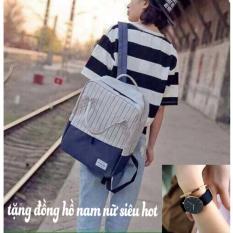 Túi Balo Ipad Vải Bố Hàn Quốc (tặng đồng hồ nam nữ siêu hot)