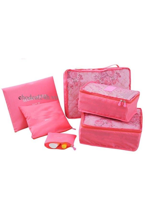 Cách mua Túi chia nhỏ hành xếp gọn trong vali gồm 6 túi Kim phát (hồng đậm)