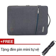 Túi chống xốc Macbook 15inh Upotimal (Xám) + Tặng 1 đèn pin mini (Đen)
