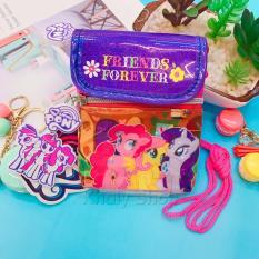 Túi đeo chéo có nắp đậy 2 ngăn hình 3 chú ngựa Pony màu hồng tím dành cho bé gái (Thái Lan) – PN72165 (10.5x13cm)
