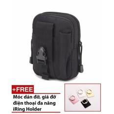 Túi đeo hông chống nước đựng điện thoại và đồ dùng EDC (Màu đen) + Tặng kèm 1 móc dán đỡ điện thoại đa năng GR260