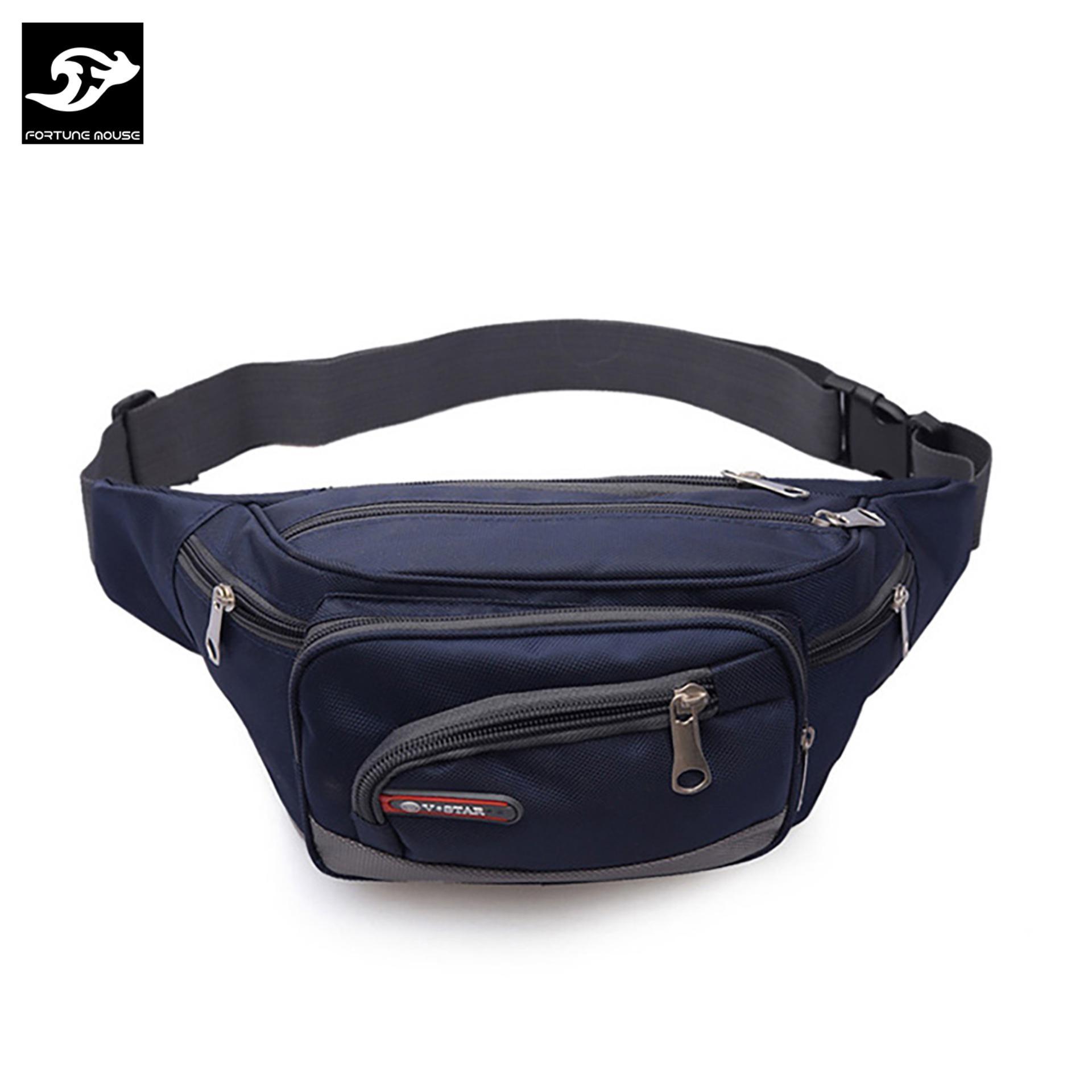 Túi đeo hông CỠ LỚN, 6 NGĂN tiện lợi Fortune Mouse 1118 (Xanh)