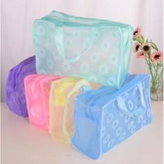 Túi đựng mỹ phẩm hoa văn chống nước (Xanh dương)