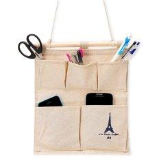 Túi treo 5 ngăn vải dày thanh gỗ chống thấm (Da)