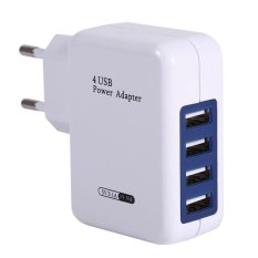 Universal 4 Ports USB Hub Power Adapter Wall Charger For iPhone iPad Smart Phone (EU Plug)(White) – Int'l – intl