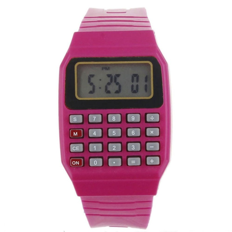 Unsex Silicone Multi-Purpose Date Electronic Wrist Calculator Watch Red - intl bán chạy