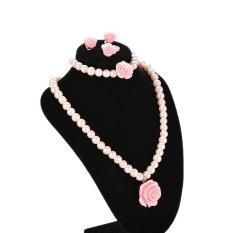 Thông tin Sp Velishy Kids Jewelry Set Necklace Bracelet with Rose Flower Pink BeadsPink Flower – intl  Veli shy