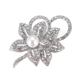 Vintage Pearl Flower Crystals Imitation Brooch Wedding AccessorySilver - intl