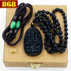 Vòng cổ Phật bản mệnh Thiên Thủ Thiên Nhãn 5cm + 2 dây, mòc mạ vàng, hộp gỗ