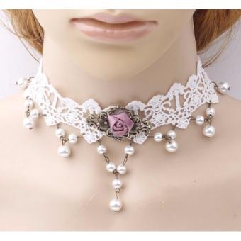Tư vấn mua Vòng đeo tay choker đeo cổ ren trắng hoa hồng ngọc trai cho dịp trọng đại Laza YECK11
