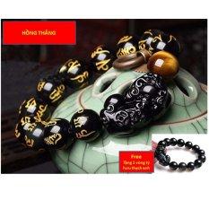 Vòng đeo tay khắc kinh phật tỳ hưu 12li (Vàng) + Tặng vòng thạch anh gắn tỳ hưu