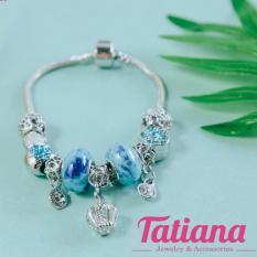 Vòng Tay Charm Đá Xanh Vương MiỆn – Tatiana – V1012 (Xanh)