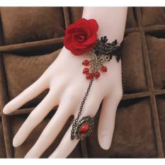 Vòng tay choker ren đen hoa hồng đỏ cực nổi bật và sang trọng