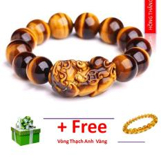 Vòng tay đá mắt hổ gắn tỳ hưu 14 li- Phong thủy mang lại sự tỉnh táo, sáng suốt, khôn ngoan, hạnh phúc và may mắn