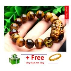 Vòng tay đá mắt hổ gắn tỳ hưu đính đá mắt hổ vàng khắc kinh phật 12 li- Phong thủy mang lại sự tỉnh táo, sáng suốt, khôn ngoan, hạnh phúc và sức khỏe