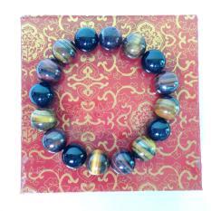 Vòng tay đá Mắt hổ thiên nhiên 3 màu size hạt 12mm