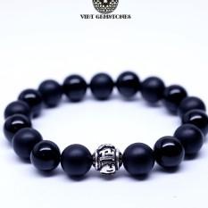 Vòng tay đá Thiền Obsidian mix charm lục tự đại minh chân ngôn