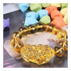 Vòng tay Tỳ Hưu đá tự nhiên may mắn 13 viên Vàng(Vàng)