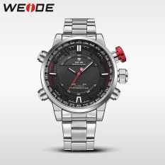 Nơi Bán WEIDE Men Quartz Wristwatches Outdoor Sport Watch Stainless Steel Strap Alarm Clock Silver Black – intl