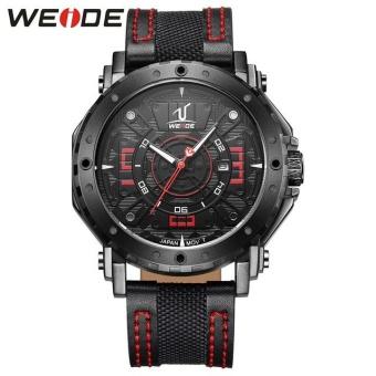 Giá Khuyến Mại WEIDE Waterproof Calendar Casual Leather Strap Watches Men's Quartz Watches Red – intl