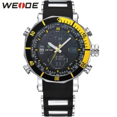 WEIDE WH5203 Men Military Stainless Steel Quartz Wristwatch Waterproof Multi-function LCD Digital Men's Clock Black Yellow – intl
