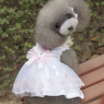 White Pet Clothes Small Dogs Pet Clothes Girls(Size M) - intl