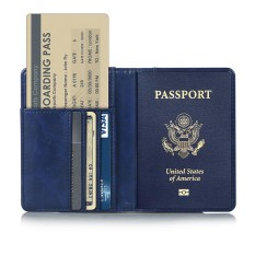 Whyus-Travel Passport Covers Credit Card Boarding Pass Holder Protective Cover Wallet Case (Dark Blue)