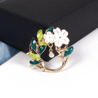 Women Enamel Dripping Oil Green Leaves White Flower Brooch Pin Wedding - intl