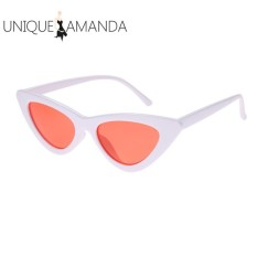 Women Fashion Shades Vintage Chic Cat Eye Triangle Sunglasses(White)- – intl
