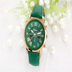 Đồng hồ thời trang nữ Geneva, đồng hồ số La Mã xài pin dây da (Màu xanh lá đậm)-quốc tế
