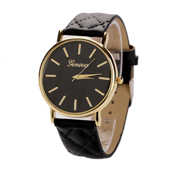 Womens Watches Grid Unisex Leather Quartz Dress WristWatch Black(Intl)