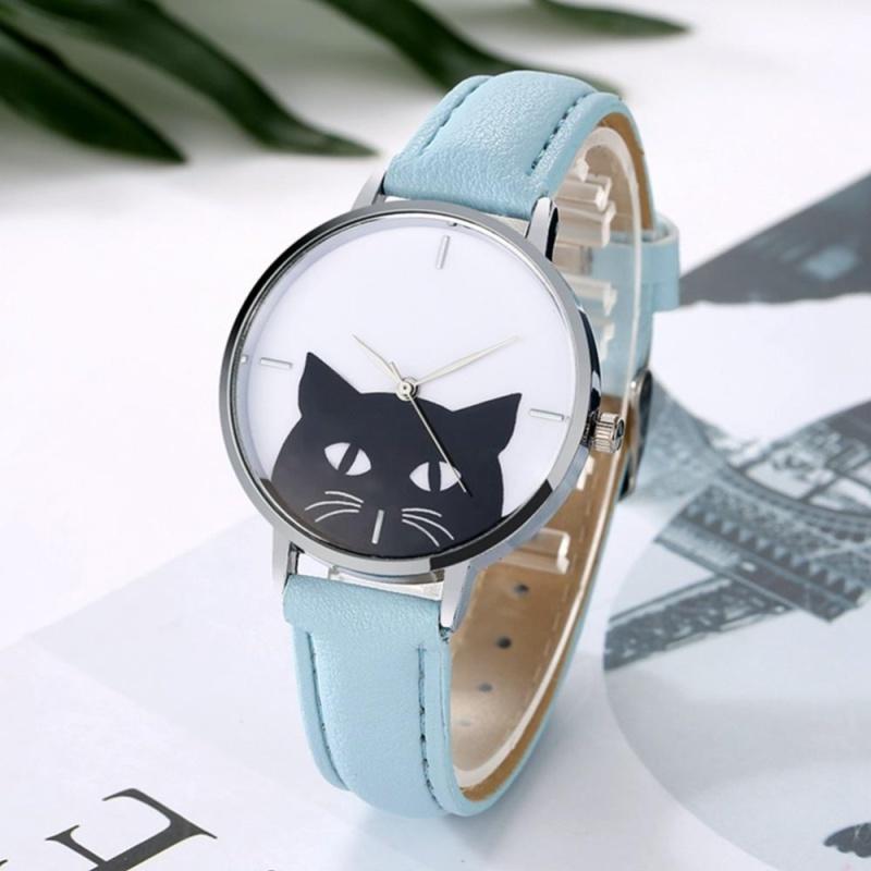 YBC Women Cute Cat Quartz Watches Casual PU Leather Band Wristwatch - intl bán chạy