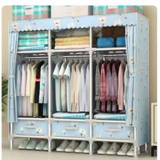 Tủ vải khung thép titan tủ vải Metal cỡ lớn 1m5 đựng quần áo
