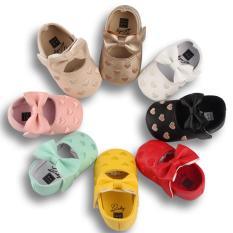 Giày búp bê họa tiết chấm bi hình tim mềm mại cho bé(13cm) (9-20 tháng)