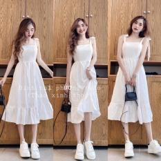 Váy 2 Dây Cột Nơ Vải Đũi Màu Trắng, Váy Đầm Nữ Dễ Thương, Đầm Maxi