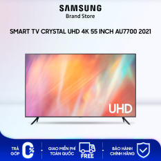 [TRẢ GÓP 0%] Smart TV Samsung Crystal UHD 4K 55 inch AU7700 2021 | Công Nghệ Motion Xcelerator | Công nghệ PurColor | Bộ Xử Lý Crystal 4K | Dễ dàng truy cập vào máy tính, laptop và thiết bị di động ngay trên TV | Hàng Chính Hãng