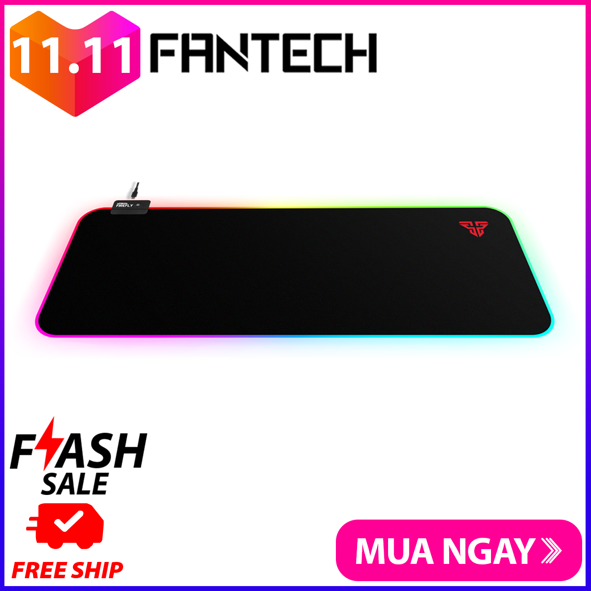 Lót Chuột Gaming Fullsized Fantech MPR800s FIREFLY Viền LED RGB 7 Chế Độ Bề Mặt Láng Mịn Di Chuột Siêu Mượt Đế Cao Su Chống Trượt – Hãng Phân Phối Chính Thức
