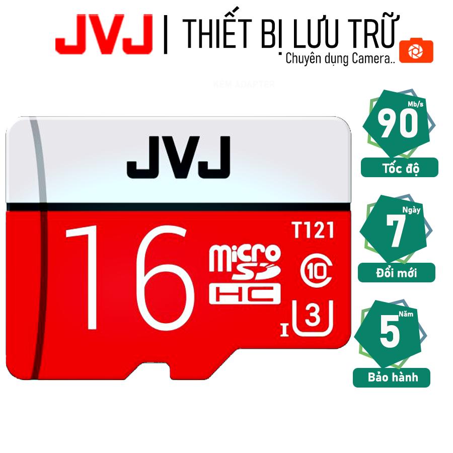 Thẻ nhớ 16G Class 10 U3 JVJ Pro tốc độ cao – thẻ nhớ chuyên dụng camera wifi, camera hành trình , camera, thẻ game, điện thoại , siêu bền, BH 5 năm, 1 đổi 1, Samsung, Oppo, Xiaomi, điện thoại android