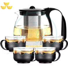 Bình trà – Bộ ấm trà thuỷ tinh có túi lọc INOX dung tích 1000ML + tặng kèm 4 LY THUỶ TINH dung tích 300ML KN-T029 bình trà 1000 ml 4 chén