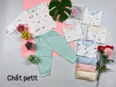 [BO3] Bộ dài tay khuy giữa áo trắng họa tiết, quần màu chất vải peptit siêu mềm mịn cho bé trai/bé gái sơ sinh từ 3 đến 12kg