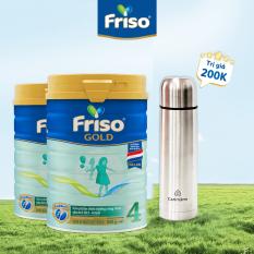 Bộ 2 lon sữa bột Friso Gold 4 lon thiếc 850G – cho trẻ từ 2-6 tuổI + Tặng bình giữ nhiệt