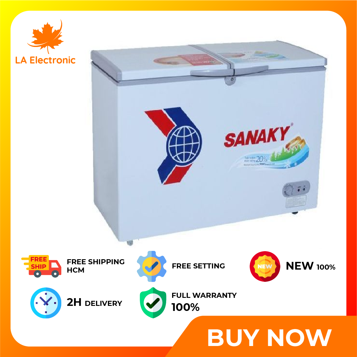 Trả Góp 0% – Tủ Đông dàn đồng Sanaky 165 lít VH-2299W1 – Miễn phí vận chuyển HCM