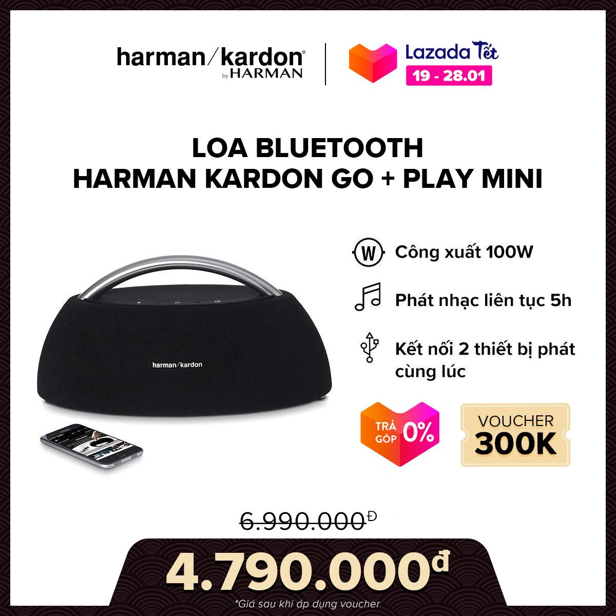 [VOUCHER 300K – TRẢ GÓP 0%] Loa Bluetooth Harman Kardon Go + Play mini l 4 Driver công suất khủng 100W l Pin 2200 mAh l Nghe nhạc liên tục 8h l HÀNG CHÍNH HÃNG