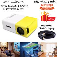 Máy chiếu phim Mini cho điện thoại laptop YG-300 hỗ trợ độ phân giải lên đến 1920 x 1080 pixel giã ngoại, giải trí cho trẻ em Tặng Dây HDMI 1,5 Mét