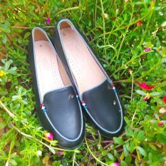 Giày Nữ Búp Bê Da Mọi Đen Mờ KT07