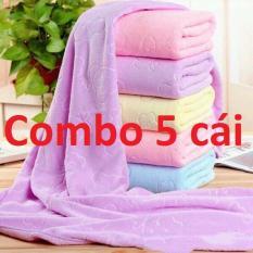 Combo 5 cái khăn tắm xuất Nhật dư, sợi lông mền, sợi vải siêu mịn, thấm nước cực tốt (kích thước 140 cm*70 cm) shop giao đủ màu lộn xộn