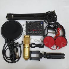Bộ combo mic livestream hát karaoke card V8 autotune micro woaichang BM900 tai 450 chân kẹp ĐT vs micro và màng lọc âm