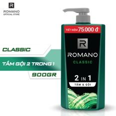 Dầu tắm gội 2in1 Romano Classic chai 900g