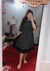 Đầm bigsize giả áo dài cách tân chấm bi